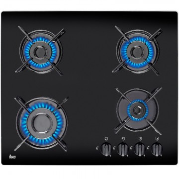 poza Plita Incorporabila gaz Teka HF LUX 60 4G AI AL black , 4 arzatoare gaz, sticla neagra, gratare metal