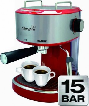 poza Espressor manual Samus Obsession 850W 1.2L 15 bar Rosu
