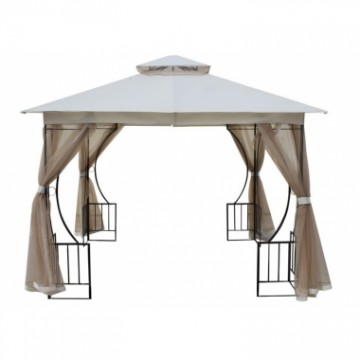 poza Pavilion,cort gradina RAKI 3x3m cadru metalic bej cu plasa antitantari MN0166251