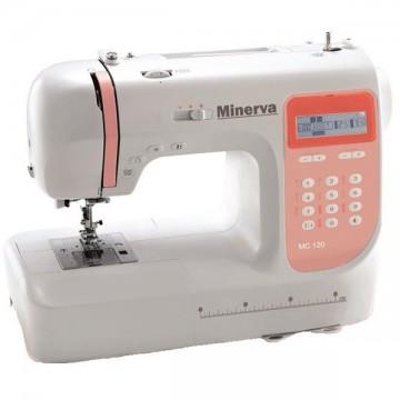 poza Masina de cusut MINERVA MC120, 800 imp/min, 70W, 110 programe, alb-portocaliu