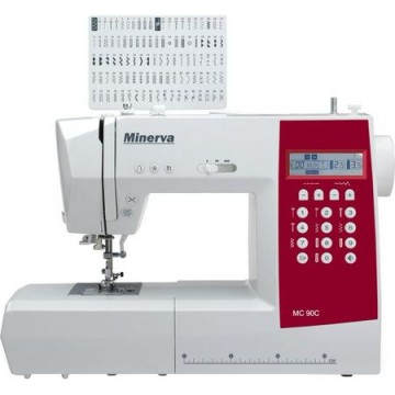 poza Masina de cusut Minerva MC90C, 90 programe, 800 imp/min, Alb/Grena