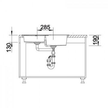 Chiuveta pentru bucatarie METRA 9 E SILGRANIT JASMIN, FARA POP-UP, 830x830mm, pentru montare pe colt , 515569 Poza 3