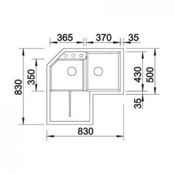 Chiuveta pentru bucatarie METRA 9 E SILGRANIT JASMIN, FARA POP-UP, 830x830mm, pentru montare pe colt , 515569 Poza 4