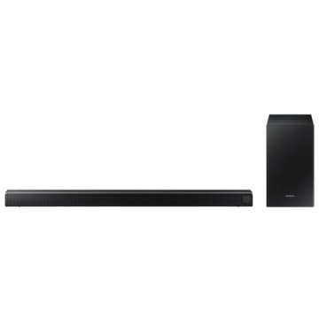poza Sound bar HW-R550, Puterea RMS 320 W, Tip Sistem 2.1, Subwoofer wireless activ, Decodare sunet: Dolby Digital/DTS 2, Formate decodificate: AAC/MP3/WAV/OGG, Game Mode, Conectare USB, Bluetooth, Audio In, Optical In, Telecomanda Smart
