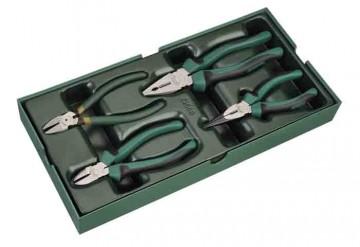 poza Set clesti 150 mm /4 piese. suport plastic (patent. tais lateral. cu varfuri semirotunde) [SA09912]