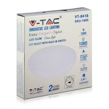 Aplica LED 3in1 (3000K/4000K/6400K), 18W, 1080LM, IP20 V-TAC VT-8418 LED DOME LIGHT Milky, 300mm