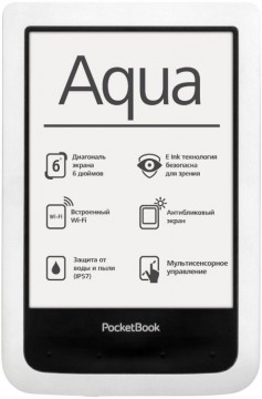 poza E-book PocketBook Aqua White, PB 640, 6 inch, 4 GB, rezistent la apa